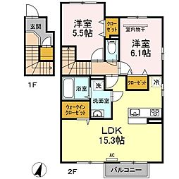 JR予讃線 讃岐塩屋駅 徒歩23分の賃貸アパート 2階2LDKの間取り