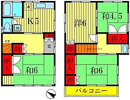 [一戸建] 千葉県松戸市上本郷 の賃貸【千葉県 / 松戸市】の間取り