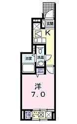 愛媛県松山市竹原2丁目の賃貸アパートの間取り
