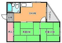 キャッスル駒川[4階]の間取り