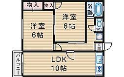 大櫛マンション[407号室]の間取り