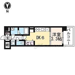 THE GARNET MILLENNIUM KYOTO九条烏丸704 7階1DKの間取り