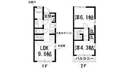 [テラスハウス] 兵庫県伊丹市大野2丁目 の賃貸【/】の間取り