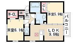 クレールSAKURA[205号室]の間取り