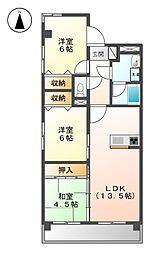 ロックガ−デン北棟[2階]の間取り