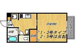 大阪府四條畷市岡山東1丁目の賃貸アパートの間取り