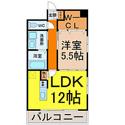 Florido栄(フローリド栄)[4階]の間取り