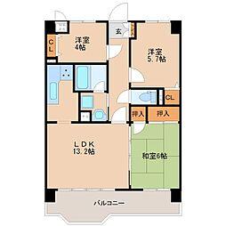 ライオンズマンション諏訪野[3階]の間取り