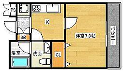 大阪府茨木市下穂積2丁目の賃貸マンションの間取り