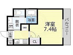 JR大阪環状線 大阪城公園駅 徒歩10分の賃貸マンション 2階1Kの間取り