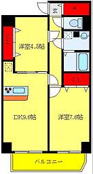 都営三田線 西巣鴨駅 徒歩8分の賃貸マンション 14階2DKの間取り