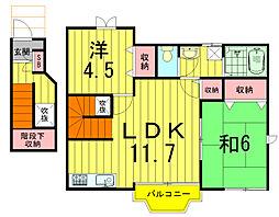 千葉県柏市増尾4の賃貸アパートの間取り