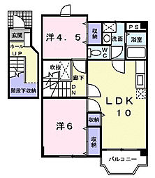 広島県福山市駅家町大字近田の賃貸アパートの間取り