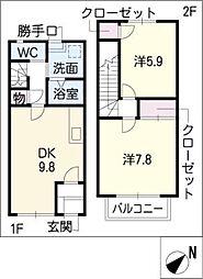 [タウンハウス] 岐阜県可児市土田 の賃貸【/】の間取り