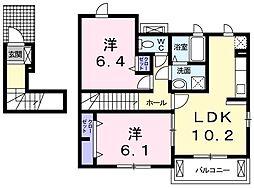 香川県東かがわ市川東の賃貸アパートの間取り
