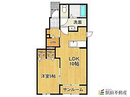 JR久大本線 筑後吉井駅 徒歩20分の賃貸アパート 1階1LDKの間取り