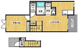 京都府京都市山科区勧修寺風呂尻町の賃貸アパートの間取り