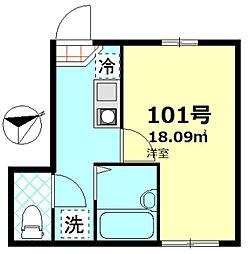 東京都大田区仲六郷3丁目の賃貸アパートの間取り