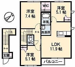 シャルムハイツ A棟[2階]の間取り