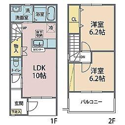 リアン・クレール・II棟 1階2LDKの間取り