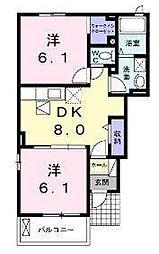 リーサ・コリーナI 1階2DKの間取り