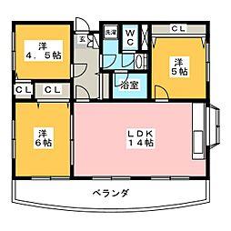 ヒルクレスト[4階]の間取り