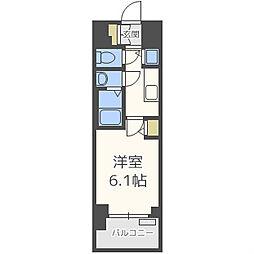プレサンスタワー難波ウエスト 6階1Kの間取り