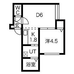 プーデルハイム 2階1DKの間取り
