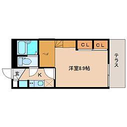 近鉄大阪線 五位堂駅 徒歩3分の賃貸アパート 1階1Kの間取り