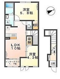 JR左沢線 東金井駅 徒歩7分の賃貸アパート 2階2LDKの間取り