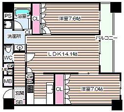 リーガル梅田II[14階]の間取り