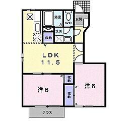 マーヴェラスK−A[105号室]の間取り