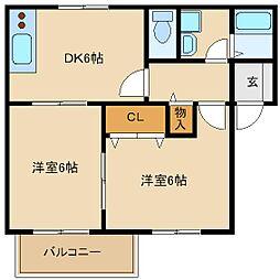メゾンドゥ若江[1階]の間取り