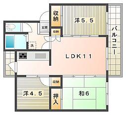 香里三井団地[5階]の間取り