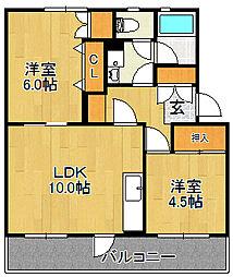 浅川団地400棟[102号室]の間取り