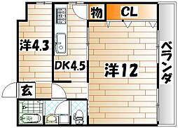 サンシャインビル黒崎[4階]の間取り