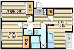 岡山県岡山市北区御津野々口丁目なしの賃貸アパートの間取り