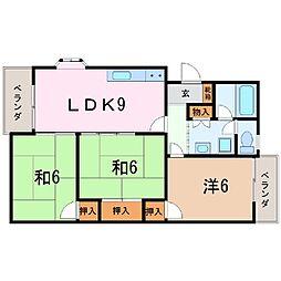 静岡県三島市東町の賃貸マンションの間取り