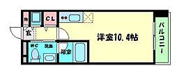 Osaka Metro四つ橋線 肥後橋駅 徒歩3分の賃貸マンション 14階ワンルームの間取り