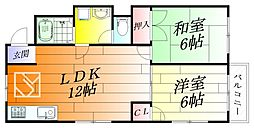 大阪府箕面市桜ケ丘4丁目の賃貸アパートの間取り