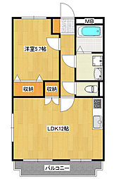 石井町1LDKマンション[1階]の間取り