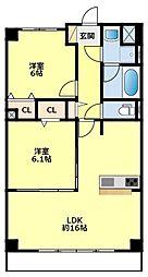 愛知環状鉄道 三河豊田駅 徒歩30分の賃貸マンション 3階2LDKの間取り