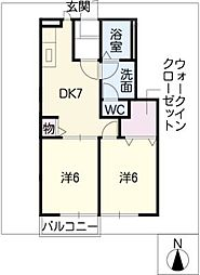 ブライトK[1階]の間取り