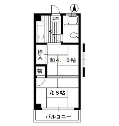 東京都中野区江古田の賃貸マンションの間取り