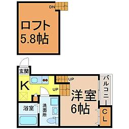 愛知県名古屋市中村区中島町3丁目の賃貸アパートの間取り
