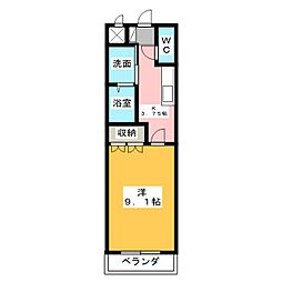 愛知県豊明市沓掛町金山の賃貸マンションの間取り
