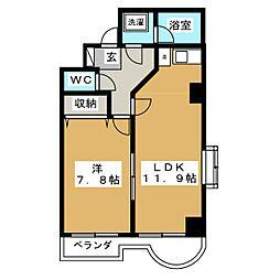 ラフィナス新栄[4階]の間取り