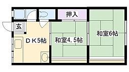 メゾン茨田[1B号室]の間取り