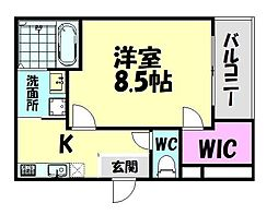南海線 北助松駅 徒歩9分の賃貸アパート 3階1Kの間取り