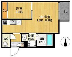 JR常磐線 南仙台駅 徒歩9分の賃貸アパート 3階1LDKの間取り